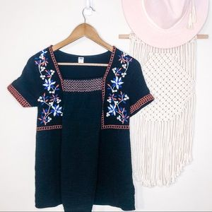 Embroidered Black Mexican Summer Blouse